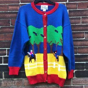 Vintage Cotton Salsa Horse Riding Sweater Cardigan